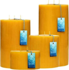 For serious drama that doesn't look like it's trying too hard, or to fill your fireplace, choose one or more of these mind-blowing, awesome Three Wick Beeswax Pillar Candles. Beeswaxco.com