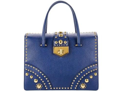 Prada Studded Saffiano Flap Bag