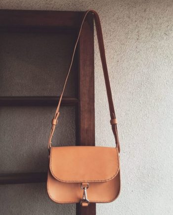 structured brown leather crossbody bag