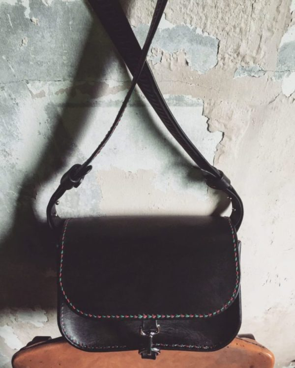 structured black leather crossbody bag