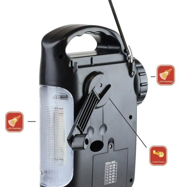 Kaito KA339W LED Camping Lantern Flashlight with AM/FM NOAA Weather Radio Black