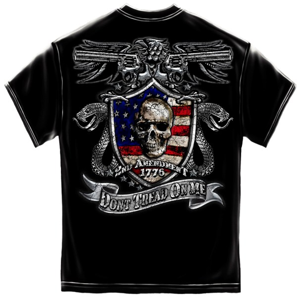 2nd Amendment Skull & Guns Black Foil T-Shirt