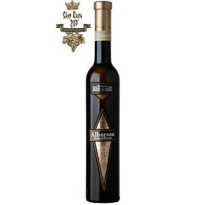 Albarosa Moscato Passito 50ml khi nhìn sẽ thấy có màu vàng đậm. Rượu mang hương thơm nồng nàn từ những trái nho Moscato khô, mật ong, vani, húng quế, rêu, chanh tây và cây hương thảo