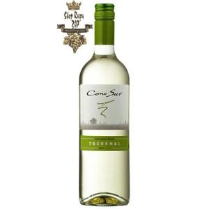 Rượu Vang Trắng Cono Sur Tocornal Sauvignon Blanco khi nhìn sẽ thấy có màu xanh lá cây và màu vàng