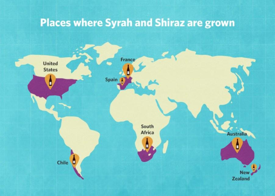 bản đồ nho syrah