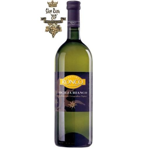 Rượu vang Ý Ronco Sicilia IGT 1L white ủ từ những loại nho Catarratto - Grecanico, Gruppo Cevico Soc, Ý.