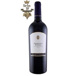 Primitivo Puglia Monteverdi có mầu đỏ đậm ánh tím. Hương thơm phong phú và phức tạp của trái cây chín, cam thảo và gia vị tuyệt vời.