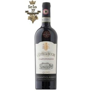 Rượu Vang Đỏ Castelvecchi Chianti Classico Capotondo có mầu đỏ ruby sâu. Hương thơm của trái cây, gia vị. vani và hạt tiêu đen.