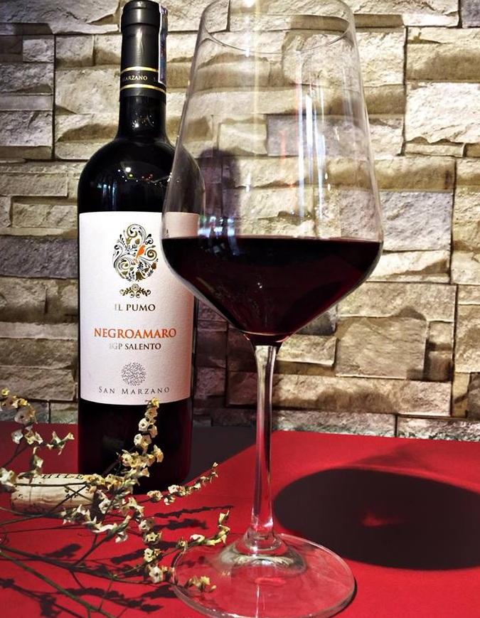chai rượu và ly rượu vang ý IL Pumo Negroamaro