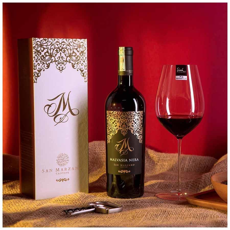 Rượu Vang Ý Đỏ M Malvasia Nera Salento IGP thích hợp làm quà tặng sang trọng