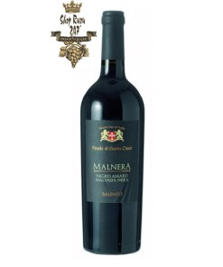 Rượu vang Malnera NegroAmaro Malvasia Nera Salento Giorgio là một niềm tựhào của rượu vang Ý. Dòng rượu vang này gây ấn tượng mạnh mẽ với hương thơmcủa các loại trái cây vỏ đỏ chín mọng cụ thể như anh đào, mâm xôi, tổng hòa cùnghương thuốc lá thâm trầm và gỗ sồi đặc trưng dịu nhẹ