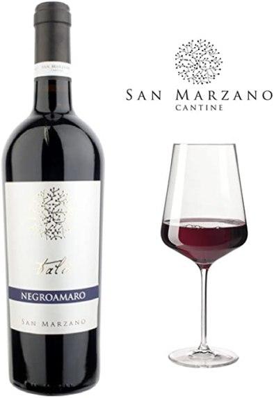 Chai Rượu Vang Ý Talo Negroamaro Salento IGP Bên Ly Rượu (Ảnh phối cảnh từ nhà sản xuất)