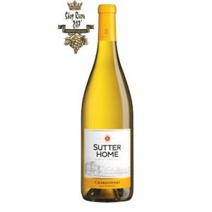 Rượu Vang Trắng Mỹ Sutter Home Chardonnay có mầu vàng rơm đẹp mắt. Chào đón một loạt các hương vị thơm ngon