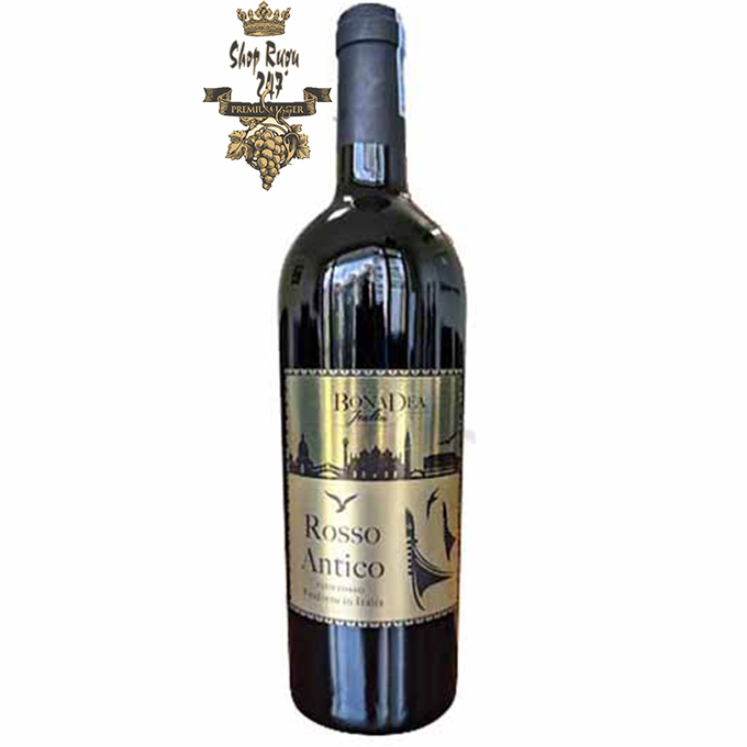 Rượu Vang Ý Đỏ ROSSO ANTICO có màu đỏ đậm, hương vị mạnh mẽ của các loại trái cây chín đỏ