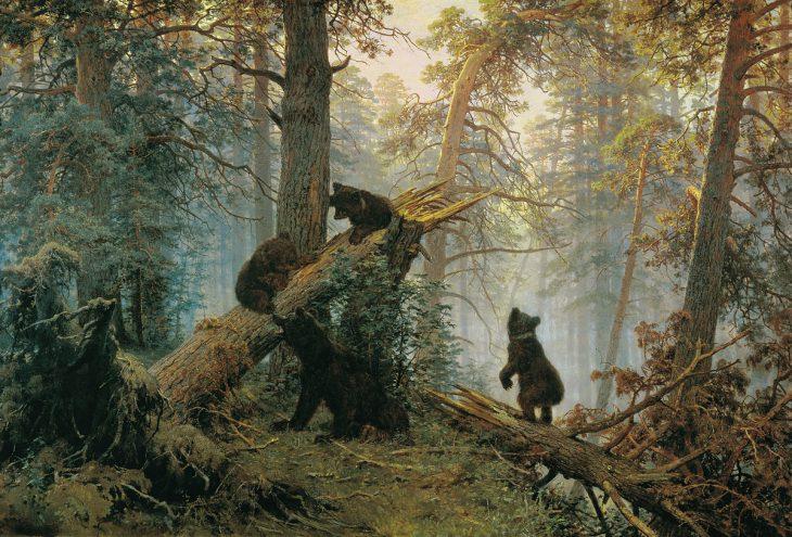 «Утро всосновом лесу», Иван Шишкин, Константин Савицкий, 1889 год