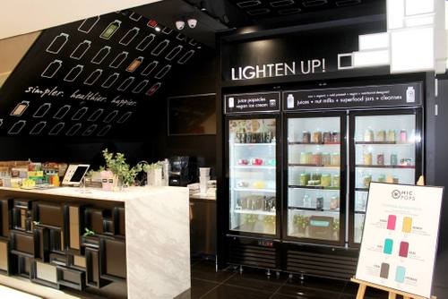 The Cafe by HIC health food shop - juice bar at The Centrepoint mall in Singapore.