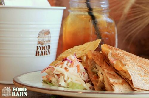 The Food Barn Restaurant's Chicken Quesadilla meal, available in Singapore.
