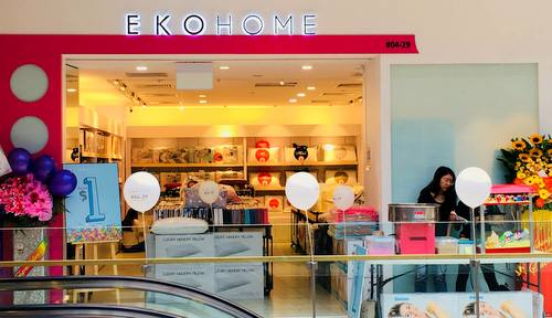 Ekohome bedding & linen store at Westgate shopping centre in Singapore.