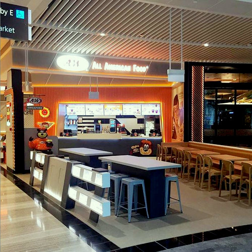 A&W fast food restaurant at Jewel Changi Airport in Singapore.