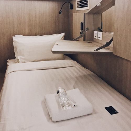 Cube Boutique Capsule Hotel guest room in Kampong Glam, Singapore.
