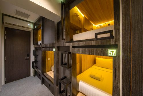 CUBE Boutique Capsule Hotel guest rooms in Chinatown, Singapore.