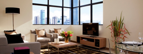 2-Bedroom Living Room at 8 on Claymore Serviced Residences in Singapore.