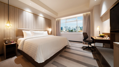 Guest room at PARKROYAL on Kitchener Road hotel Singapore.