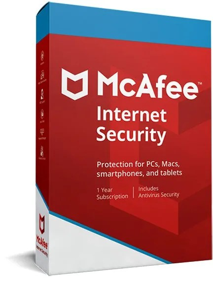 Mcafee internet security 2020 for 1 device and subscribtion of 1 year