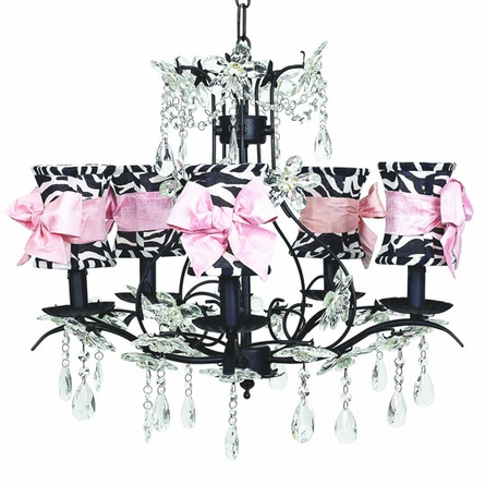 Chandeliers For Nurseries Sugarbabies Chic Waterfall Black Chandelier With Pink