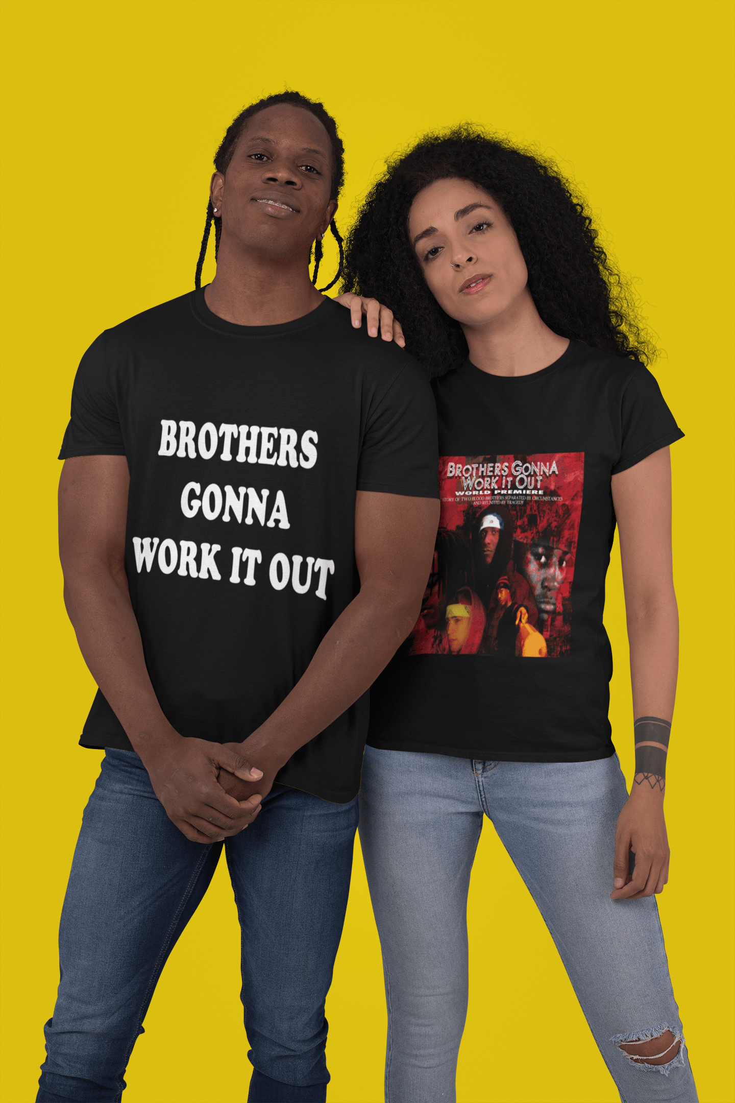 t shirt mockup of a man and a woman posing against a plain color backdrop 30760