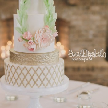 Rose Gold Wedding Cake with Wafer Paper and Gumpaste Floral Wreath