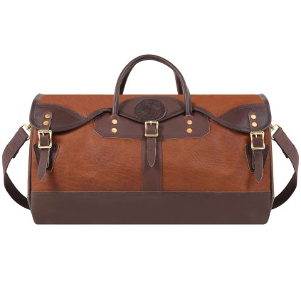 bison-leather-sportsmans-duffel-front-new-logo-brown-accent-leather