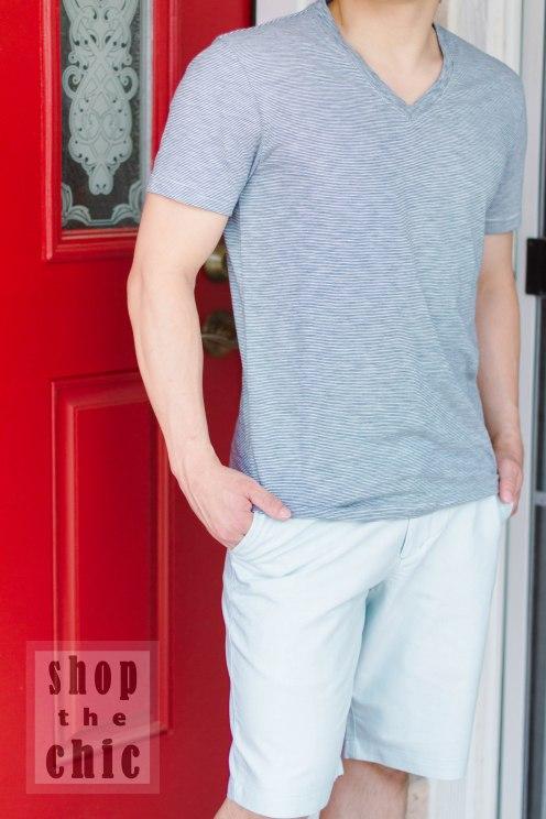 Striped V-neck Tee: $3.74, Mint Shorts - Target ($18)