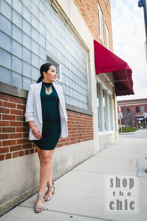 Browns and golds make this evergreen dress pop. The white Zara boyfriend blazer was gifted to me by my sister.
