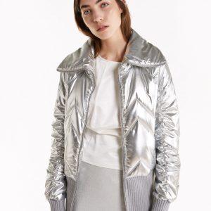Abbigliamento Patrizia Pepe  Piumino bomber trapuntato Moon Silver female collezione 2020 shop the look