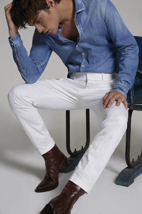 DSQUARED2 Uomo Pantalone Bianco Taglia 42 97% Cotone 3% Elastan