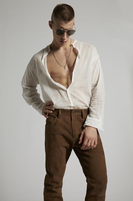 DSQUARED2 Uomo Pantalone Marrone Taglia 42 100% Pelle di capra