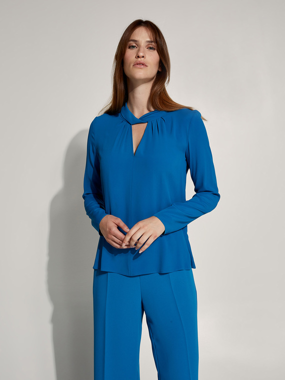 Caractere New season preview Blu - Caractère Blusa in crépon Donna Blu