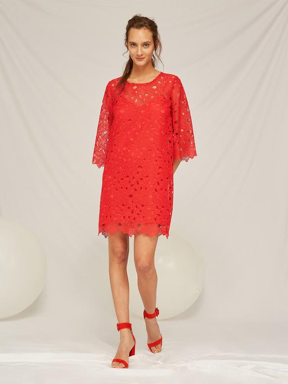 Caractere Abbigliamento > Abiti Rosso - Caractère Abito in pizzo Donna Rosso