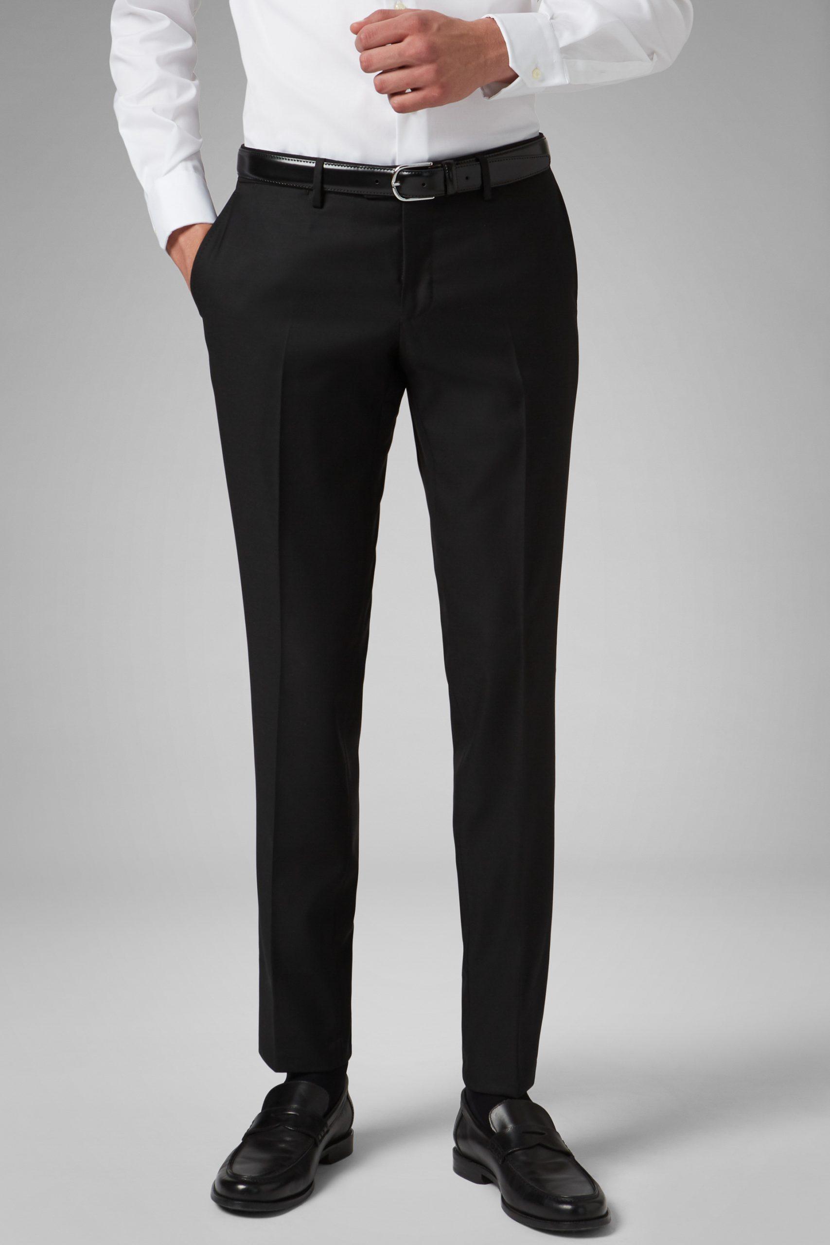 Pantaloni da uomo in colore Nero in materiale LANA 100%