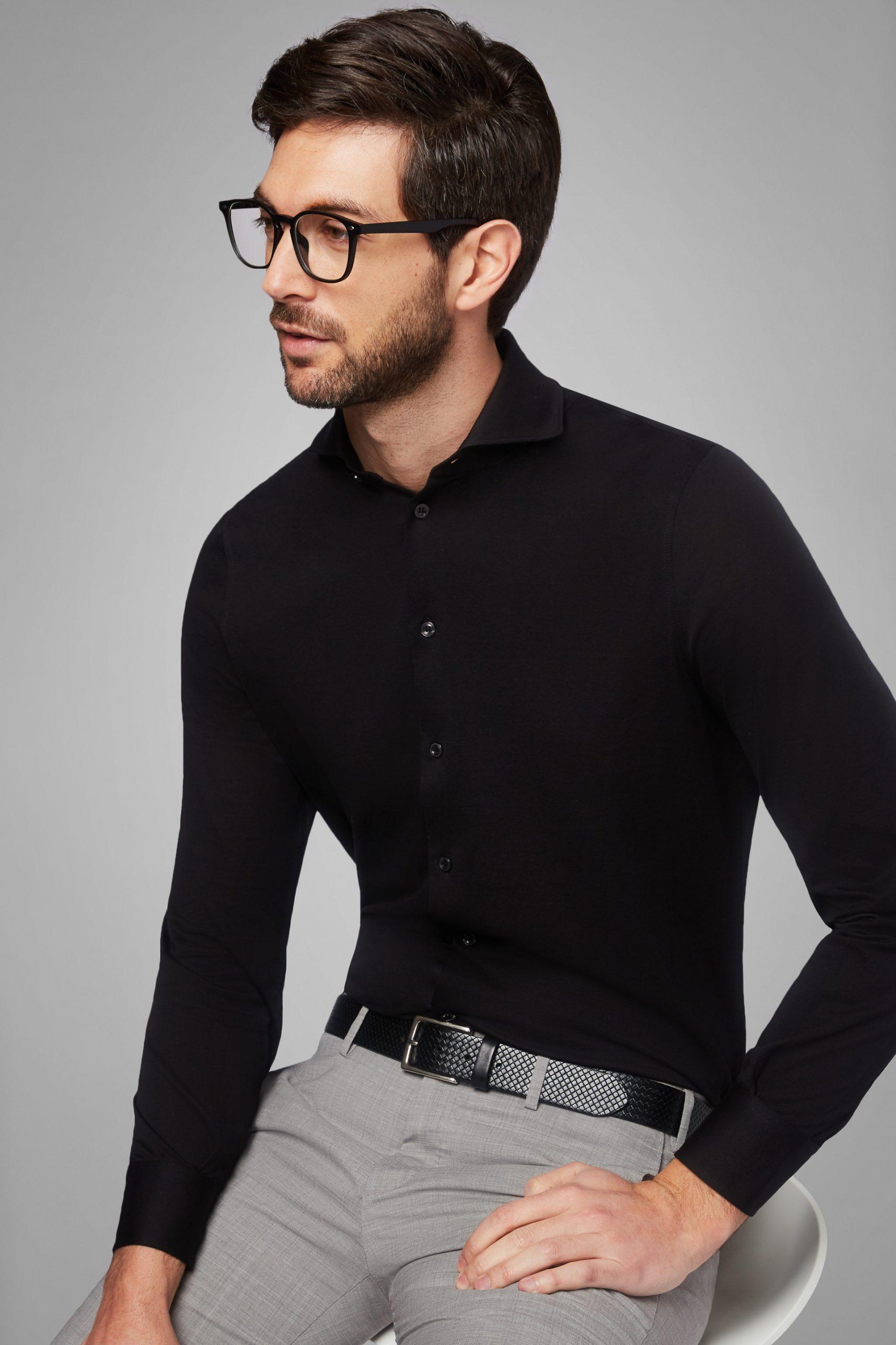 Camicie da uomo in colore Nero in materiale