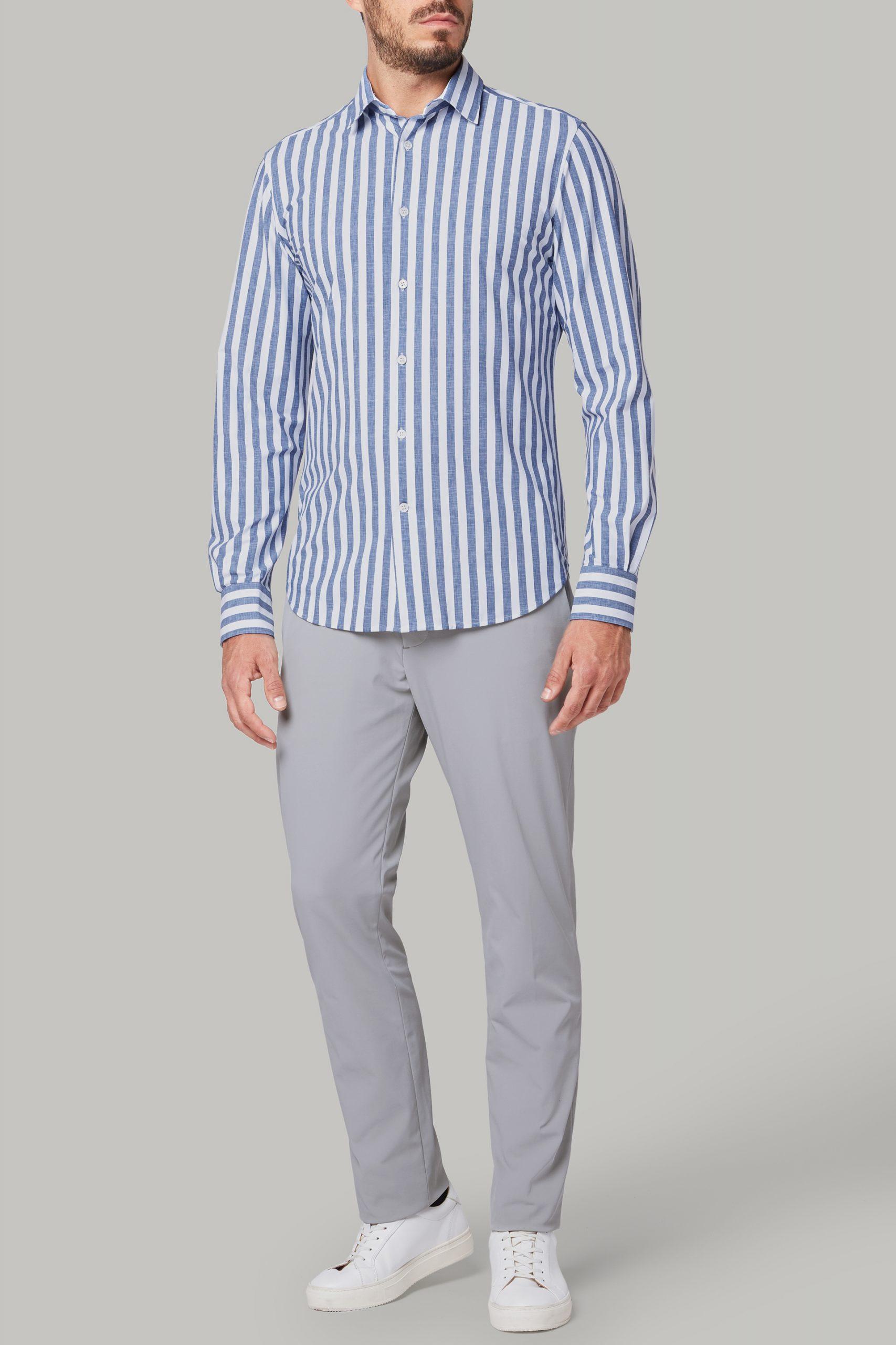 Camicie da uomo in colore Bianco Blu in materiale