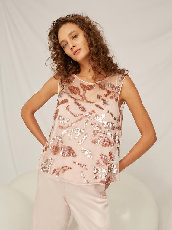 Caractere Abbigliamento > Top e t-shirt Rosa - Caractère Top ricamato Donna Rosa