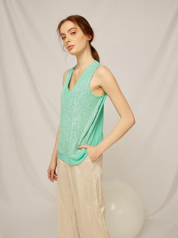 Caractere Abbigliamento > Top e t-shirt Verde - Caractère Top ricamato Donna Verde