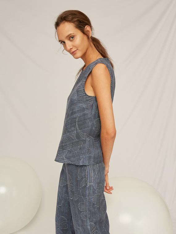 Caractere Abbigliamento > Top e t-shirt Blu - Caractère Top stampato con sovrapposizione Donna Blu