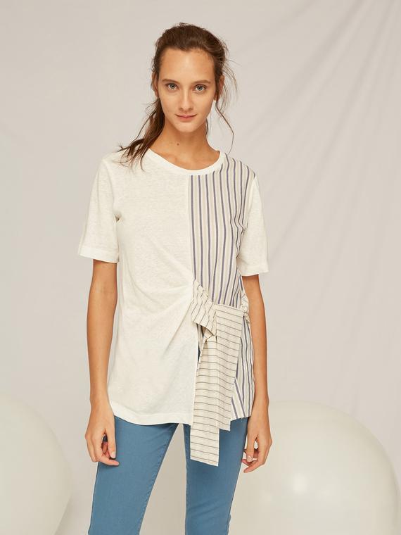 Caractere Abbigliamento > Top e t-shirt Bianco - Caractère T-shirt con inserti a righe Donna Bianco