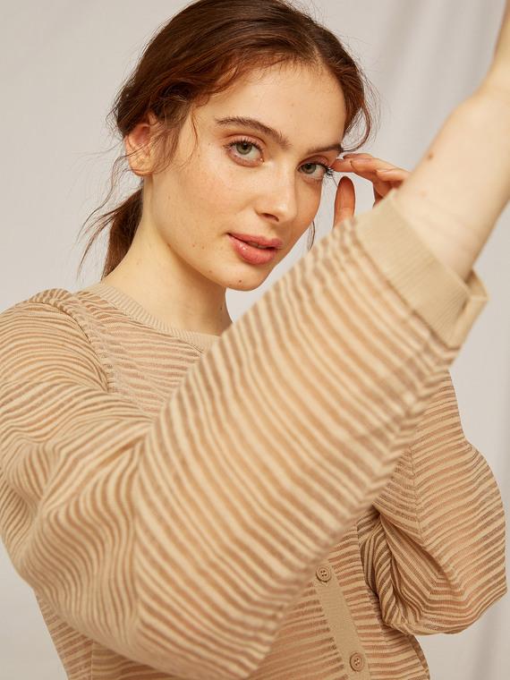 Caractere Abbigliamento > Maglieria e tricot Beige - Caractère Cardigan a righe Donna Beige