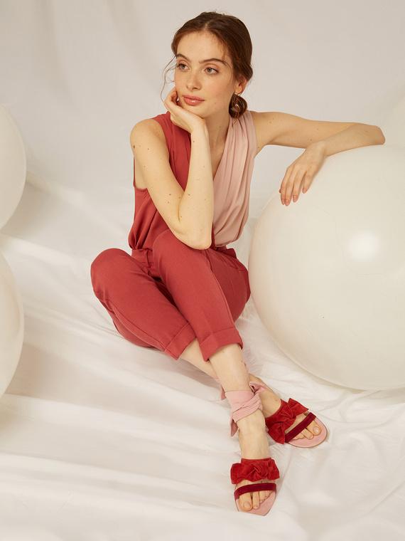 Caractere Accessori > Calzature Rosso - Caractère Sandali flat in pelle colorata Donna Rosso
