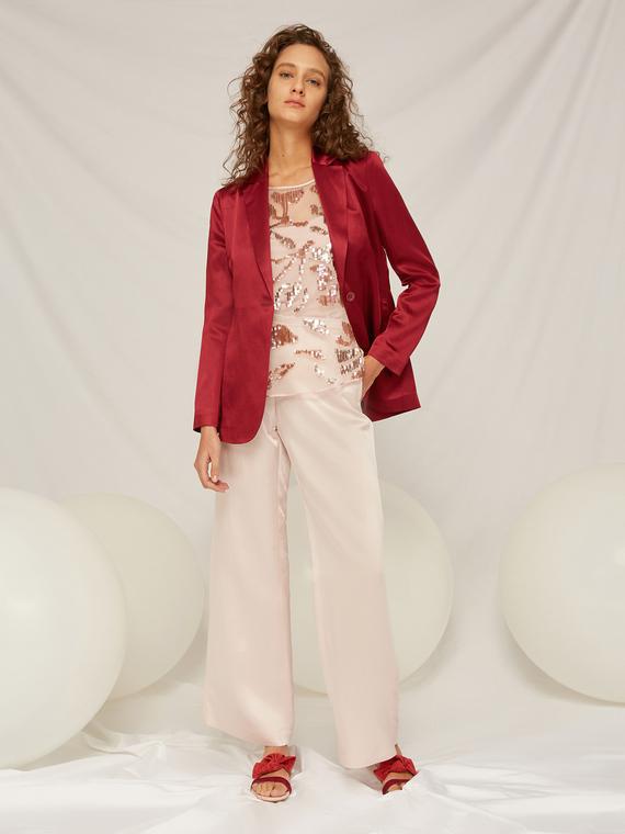 Caractere Abbigliamento > Pantaloni e jeans Rosa - Caractère Pantaloni ampi in lino effetto specchio Donna Rosa
