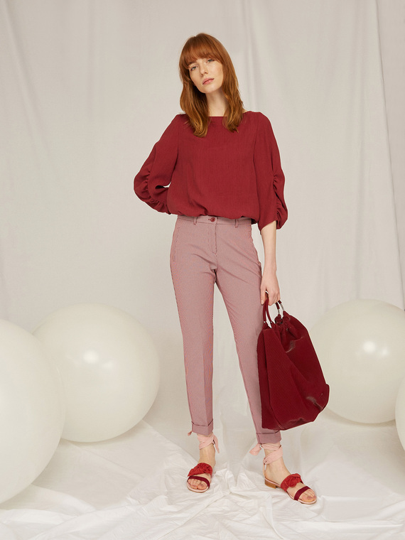 Caractere Abbigliamento > Pantaloni e jeans Marrone - Caractère Pantaloni dritti fantasia Donna Marrone